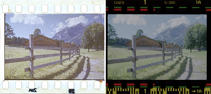 Comparison of source frame and the printed result on the target film.